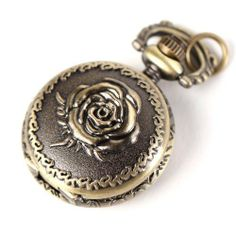 Yesurprise Antique Bronze Tone Rose Quartz Pocket Pendant Chain Watch Necklace 2.5cm Yesurprise. $7.89