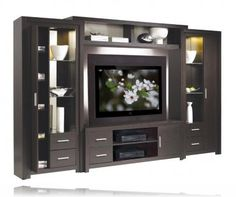 Chrystie Entertainment Center Wall Unit w/ Open Display and Closed Storage Space (fits LCD TV). Tv Unit Decor, Tv Wall Decor, Tv Cabinet Design, Tv Wall Design, Modern Tv Wall Units, Modern Wall, Tv Unit Furniture, Furniture Design, Living Room Tv Unit Designs