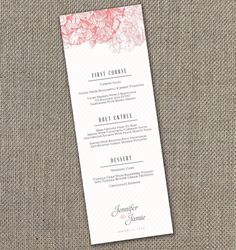 Peony Wedding Menu Digital File by EventswithGrace on Etsy, $25.00