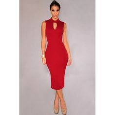 USD9.99Cheap Sexy Turtleneck Tank Sleeveless Backless Cut-out Red Polyester Sheath Knee Length Dress
