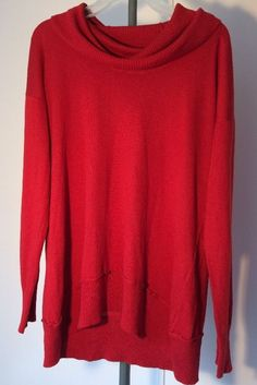 Cupio Cowl Neck Long Sleeve Top Size L Red High Low #Cupio #KnitTop #Casual