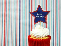 4th July Cupcakes!  Make your own cupcake picks using our free template on Charli's Crafty Kitchen Facebook Page