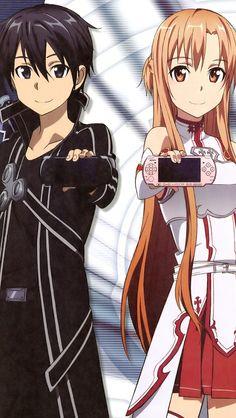 Kirito and Asuna ❤️ i love how you can barely see Kirito's because its all black ❤