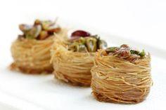Try Turkish Bird Nest; Baklava With Pistachios: Turkish nest baklava is made with pistachios and kataifi; similar to finely shredded phyllo.