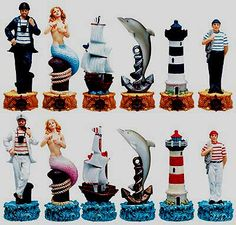 Chess set (or cake toppers? One Night In Bangkok, Old Sailing Ships, Chess Table, Art Through The Ages, Board Game Design, Chess Pieces, Family Game Night, Toy Store, Board Games