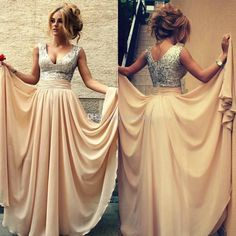 2015 Sexy Champagne Long Prom Dresses V-Neck Chiffon