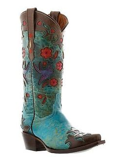 Womens brown turquoise cowgirl leather boots red flowers rodeo western snip toe