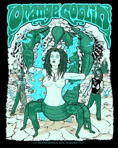 Orange Goblin Rock Posters, Band Posters, Concert Posters, Stoner Rock, Horror Font, Goblin, Rock Music, Rock Art, Album Covers