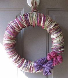 DIY fall wreath--Raffia-wrapped wreath from The Hand Me Down House blog