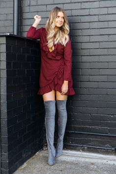 red dress grey boots