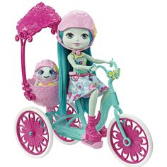 Enchantimals Taylee Turtle Doll with Turtle and Tricycle Playset Tricycle, Pink Helmet, Monkey Doll, Green Bodies, Mattel, Forest Friends, Dollhouse Dolls, Pink Shoes, Looks Cool