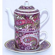 "✿ڿڰۣ(̆̃̃•Aussiegirl  Vera Bradley ""Very Berry Paisley""  tea for one set"