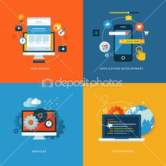 Set of flat design concept icons for web and mobile phone services and apps — Stock Illustration #42846891