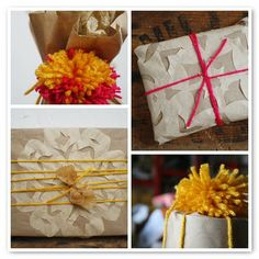 adding snowflakes and handmade pom-poms. via scrumdillydilly.
