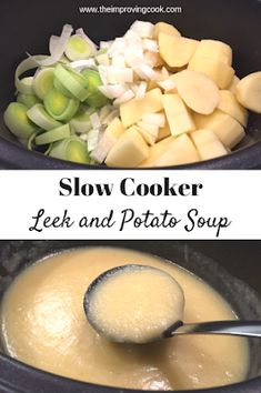 Slow Cooker Leek and Potato Soup- such and easy way to make leek and potato soup. This recipe freezes well, so it's perfect for making big batches. Syn free on Slimming World and only 230 calories a portion, it makes a great winter lunch. Crock Pot Recipes, Easy Soup Recipes, Slow Cooker Recipes, Vegetarian Recipes, Cooking Recipes, Vegetarian Slow Cooker, Cooking Dishes, Vegetarian Barbecue, Crock Pot Slow Cooker