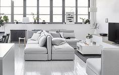 Bilderesultat for vallentuna sofa Sofa Layout, Cheap Rustic Decor, Cheap Home Decor, Modular Furniture, Sofa Furniture, Furniture Buyers, Steel Furniture, French Furniture, Furniture Ideas