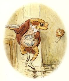 'The water was all slippy-sloppy in the larder …'  Beatrix Potter, The Tale of Mr. Jeremy Fisher (London: Frederick Warne [1906]).
