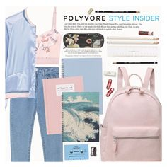 """""""Rule School: Cool Backpacks"""" by lunaarmani ❤ liked on Polyvore featuring WithChic, STELLA McCARTNEY, MANGO, CASSETTE, Monkey Business, Ted Baker, Kate Spade, Chapstick, backpacks and contestentry"""