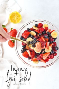 This fruit salad is a combination of fresh berries and bananas and is perfectly sweet topped with a light honey lemon dressing. Honey Recipes, Honey Lemon, Fruit Salad, Vegetarian Paleo, Berries, Bananas, Acai Bowl, Salad Recipes, Fresh