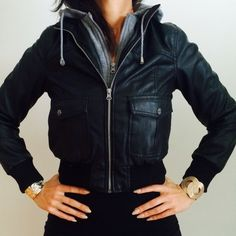 CROPPED BOMBER JACKET Cropped bomber jacket with built in hood. Great condition. Jackets & Coats