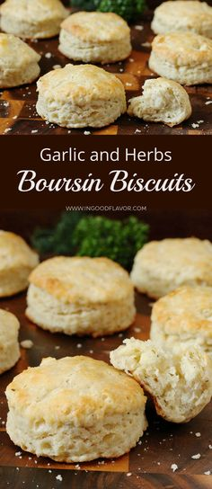 GARLIC AND HERBS BOURSIN BISCUITS If you never had the desire to make biscuits, these cheesy, herbaceous and garlicky Boursin Biscuits will make you reconsider. They are flaky, tender, and oh so good! Boursin Recipes, Cheese Recipes, Boursin Cheese, Baking Recipes, Ww Recipes, Sandwich Recipes, Drink Recipes, Bread Recipes, Side Dishes