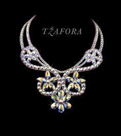 Swarovski ballroom necklace. Ballroom dance jewelry, ballroom dance accessories. www.tzafora.com Copyright © 2016 Tzafora. Handmade in Canada.