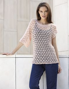 Model / Pattern of Sweater of Woman of Spring / Summer from KATIA Pull Rose, Lana, Crochet Top, Sweaters For Women, Feminine, Concept, Pattern, Clothes, Crochet Sweaters