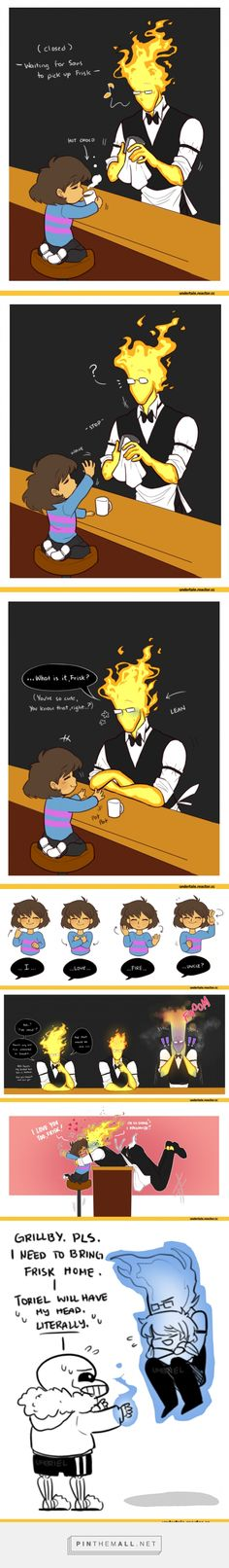 Frisk, Grillby and Sans. So cute! ♡