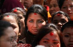Narendra Shrestha / EPA. A women's day rally in Kathmandu, Nepal on March 8.