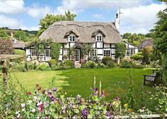 traditional thatched roof British cottage