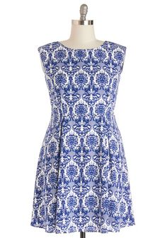 Master of Merchandising Dress in Plus Size. Your schedule is stacked with new display setups, and in this brocade-printed tank dress, you stay stylish from store to store! #blueNaN