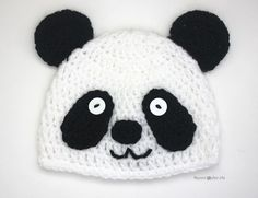 Crochet Bear Crochet Panda Bear Hat - Repeat Crafter Me ~ Crochet Panda, Crochet Baby Beanie, Cute Crochet, Crochet For Kids, Crochet Crafts, Crochet Dolls, Crochet Projects, Crochet Fox, Ravelry Crochet