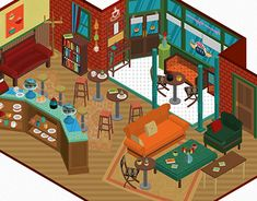 Isometric representation of the Central Perk Coffee House from the tv show FRIENDS. Friends Episodes, Friends Series, Friends Tv Show, Friends In Love, Friends Set, Friends Tv Quotes, Friends Moments, Friends Forever, Cartoon Network Adventure Time