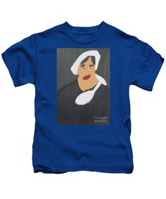Patrick Francis Designer Kids Royal Blue T-Shirt featuring the painting Portrait Of A Woman With White Cap 2015 - After Vincent Van Gogh by Patrick Francis