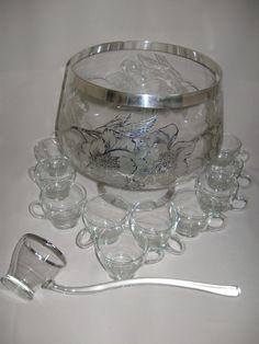 Silver Rim Silver Inlaid Punch Bowl Floral & Leaf Design Glass ladle Qty 12 Cups #Unknown $79.99