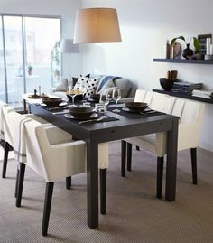 IKEA Bjursta extendable dining table with 2 extra leaves. Seats IKEA Nils chair with armrest. Colorful Lamp Shades, Modern Lamp Shades, Table Lamp Shades, Old Lamp Shades, Chaise Ikea, Ikea Armchair, Ikea Fabric, Shabby Chic Lamp Shades, Piece A Vivre