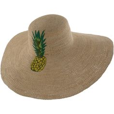 Functional and always fashionable, this Prymal hat is handmade in Ecuador. Lady Wide Brim Crochet Natural Panama Hat with Hand-Embroidered Pineapple Toquil Pineapple Hat, Pineapple Punch, Painted Hats, Floppy Sun Hats, Hat Embroidery, Embroidered Hats, Wide-brim Hat, Panama Hat, Weaving