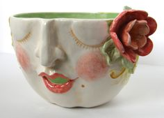 Yarn bowl with face by Val Garber