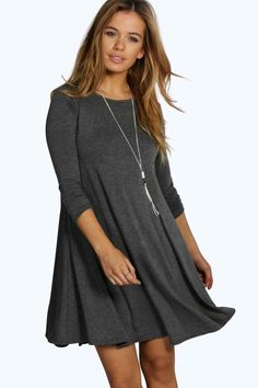 Shop boohoo's range of womens and mens clothing for the latest fashion trends you can totally do your thing in, with of new styles landing every day! Boohoo Petite, Long Sleeve Evening Dresses, Petite Dresses, Online Shopping Clothes, Special Occasion Dresses, Swing Dress, Latest Fashion Trends, Scoop Neck, Polyvore