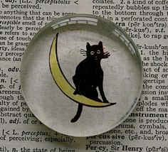 Halloween Black Cat Glass Magnet, by CrowBiz on Etsy.  Larger quantities available - great for Halloween party favors.