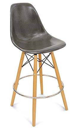 Barstool Dowel Stool Swivel Base Side Shell Chair by Modernica Case Study Barstools with fiberglass shell.  Choose bar height stool or counter height stool in fun fiberglass shell colors.  Sturdy dowel barstool wood base for residential or commercial use.