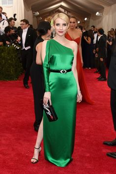 Emma Roberts. The actress lit up the red carpet in a deep-green Ralph Lauren gown.