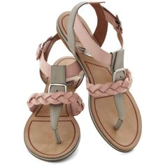 Matiko Tomorrow Never Rose Sandal (190 BRL) ❤ liked on Polyvore featuring shoes, sandals, flats, pink, pink flat shoes, flat heel sandals, pink flats, ankle tie flats and rose pink shoes