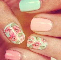 Shabby Chic Floral Mint Pink and Peach Nails