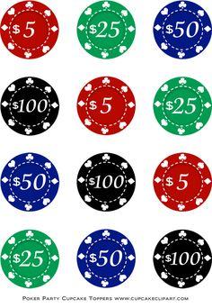 Poker Night Party Free Printable Cupcake Toppers | Cupcake Clipart