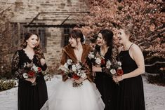A moody and dark winter wedding by Julia Garcia-Prat Photography. An elegant ceremony at Knox Presbyterian church and a reception at All saints Event Space in Ottawa, Ontario Dark Winter, Floral Cake, Bridesmaid Dresses, Wedding Dresses, Winter Theme, All Saints, Ottawa, Wedding Vendors, Newlyweds
