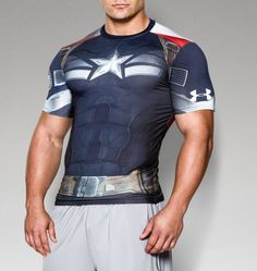 ** Captain America ** Under Armour Men's Alter Ego Compression Shirt **NWT** #UnderArmour #BaseLayers