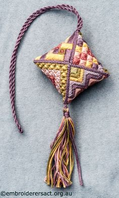 Dog Rose /needlepoint Scissorskeeper stitched by Jillian Bath