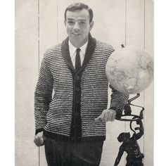 Mans Shawl Collar Cardigan Knitting Pattern S-M-L.  This rendition of the mans cardigan features a checked tweed effect pattern stitch with extended shoulders, long sleeves, color band openings, a 5 button closure and - not as common - a small shawl collar.