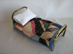 "Vintage Gold Metal Doll Bed w/ Vintage Quilt in Play Scale - 11 1/2"" Long"